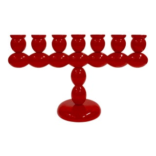1990s Red Swedish Candelabra For Sale