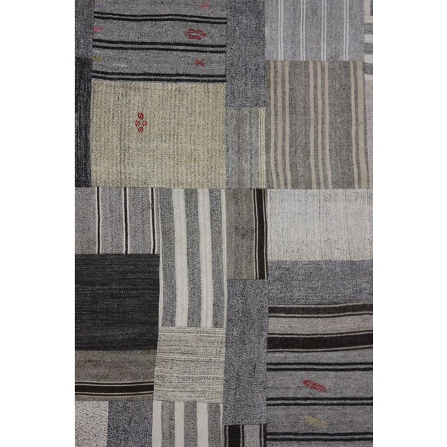 "Hand Knotted Patchwork Kilim by Aara Rugs Inc. - 12'1"" X 8'10"" - Image 3 of 4"