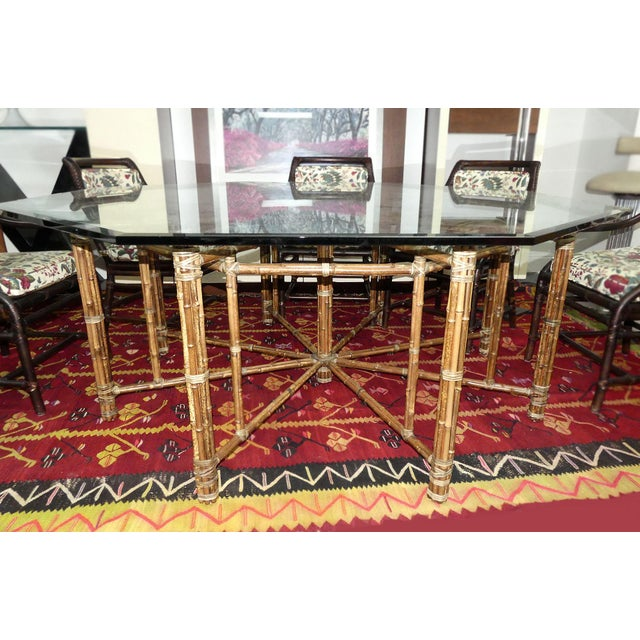 Hollywood Regency McGuire Bamoo and Laced Rawhide Octagonal Dining Table For Sale - Image 3 of 13