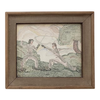 "Art Deco Pointillism ""Fencing"" Original Oil on Paper C.1940s For Sale"