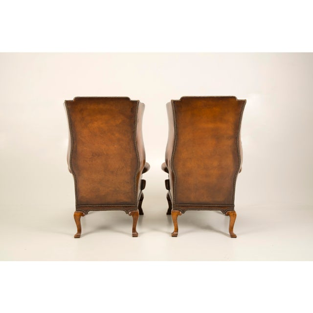 Pair of Antique English Wingback Leather Chairs, Circa 1890 - Image 9 of 10 - Fine Pair Of Antique English Wingback Leather Chairs, Circa 1890