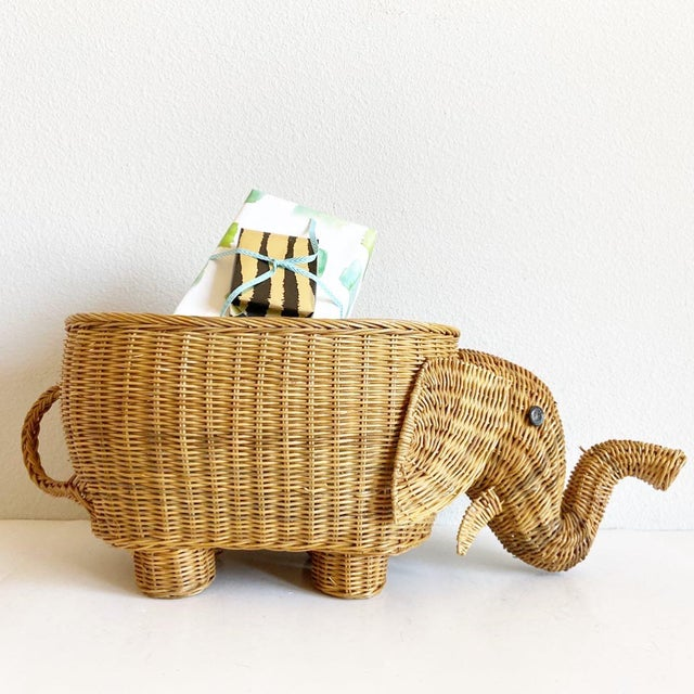The elephant in the room! Large, lifelike and adorable 1970s natural wicker basket hand-crafted in the shape of a elephant...