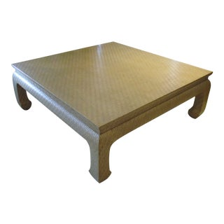 1970s Baker Label - Karl Springer Style Linen Grass Cloth Wrapped Coffee Table For Sale