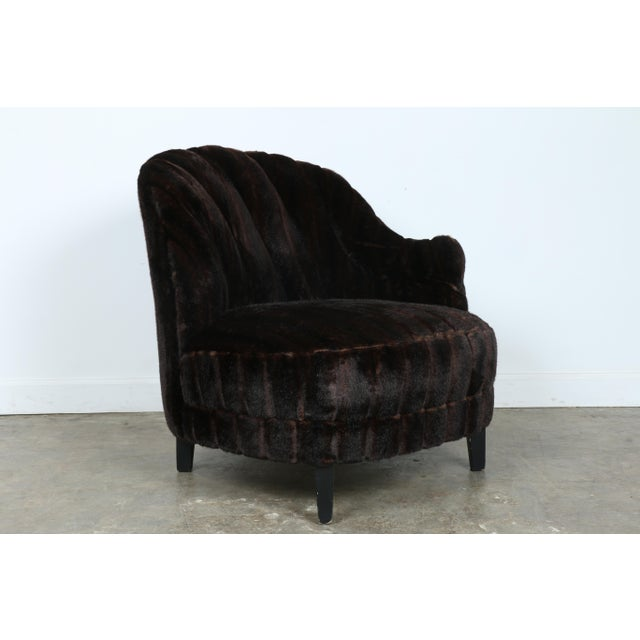 Furry Lounge Chair with Ottoman - Image 4 of 11