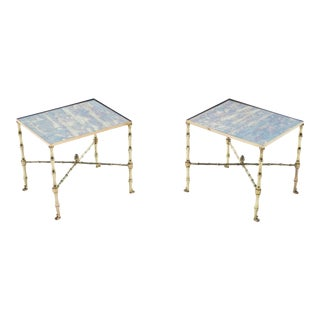 French Maison Jansen Brass Mirrored End Tables - a Pair For Sale