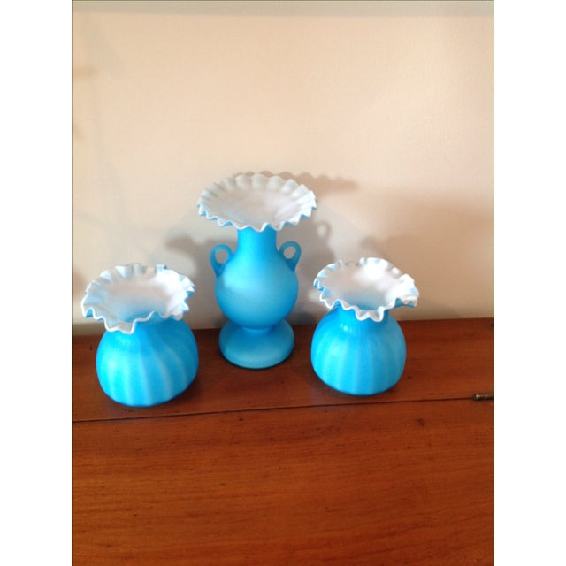 Blue Matte Ruffled-Edged Glass Vases - S/3 - Image 2 of 6
