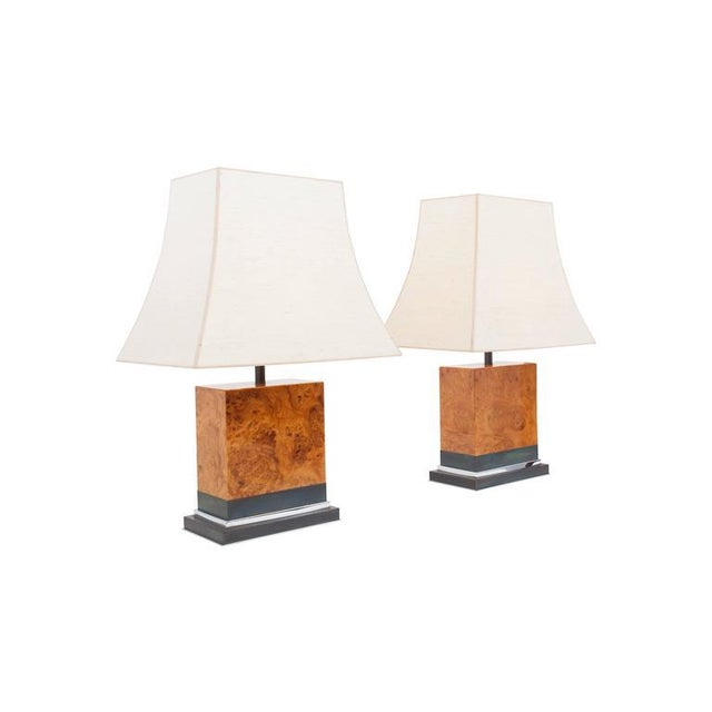 Pair of 1970s table lamps by French designer Jean Claude Mahey. Marked on the bottom of the lamp High gloss burl, copper...