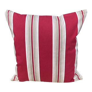 Antique French Ticking Stripe Red & White Pillow For Sale