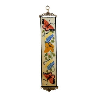 Vintage Jacmore Co. Butterfly Needlepoint Wall Hanging