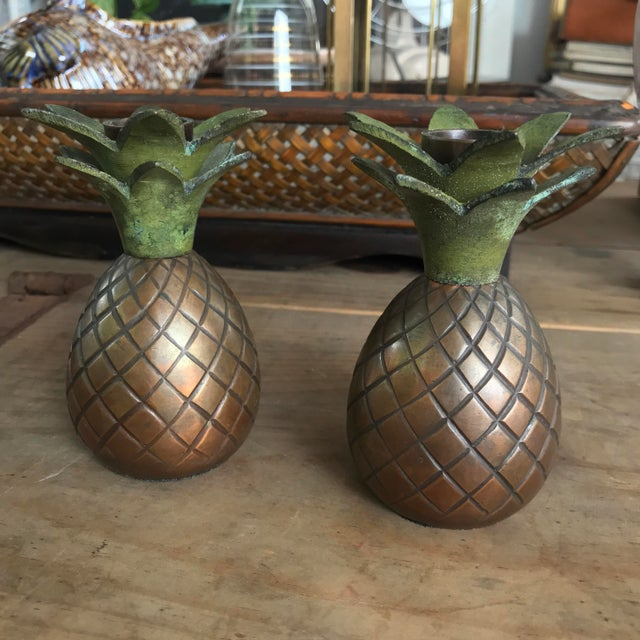 Pineapple Candle Stick Holder Palm Beach Style - a Pair For Sale - Image 9 of 11