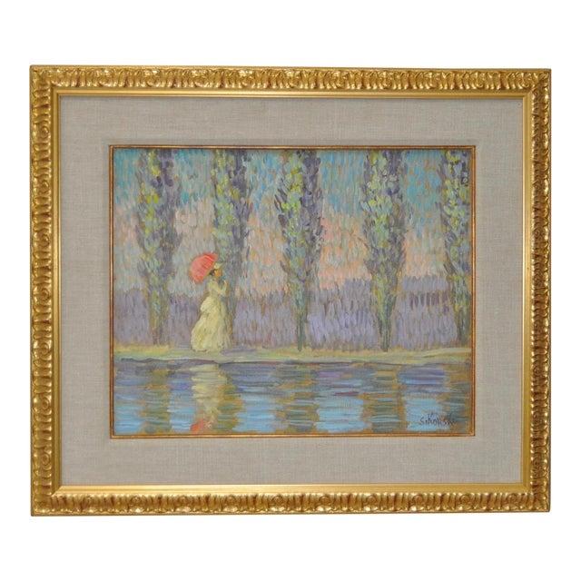 Vintage Impressionist Painting by Eva Sikorski For Sale