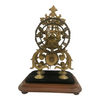 19th Century Brass Skeleton Clock on Wood Base For Sale