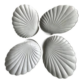 1970s Vintage White Ceramic Clam Platters For Sale