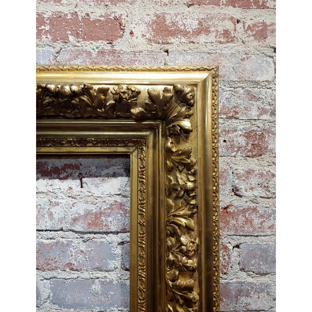 19th Century -Highly Carved & Ornate Gilt-Wood Frame For Sale - Image 4 of 7