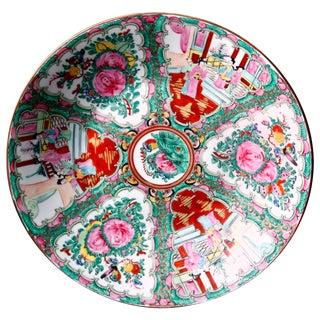 Vintage Mid Century Chinese Hand Enameled Rose Medallion Porcelain Charger For Sale