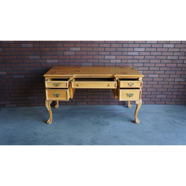 Tan Vintage Pine Writing Desk For Sale - Image 8 of 9