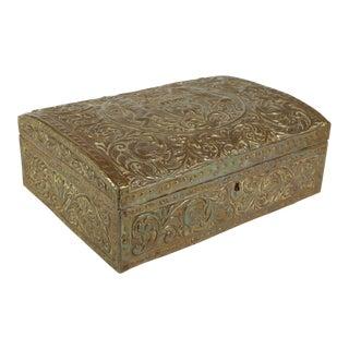 Antique Brass Repousse Box For Sale