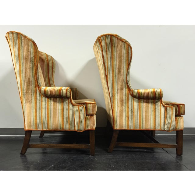 Vintage Mid-Century Tufted Wing Back Chairs - Pair - Image 4 of 11
