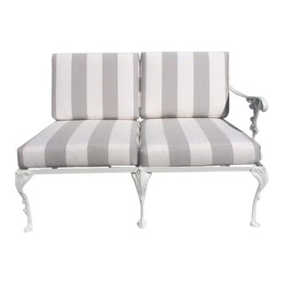 White Lacquered Garden Love Seat With Sunbrella Cushions For Sale