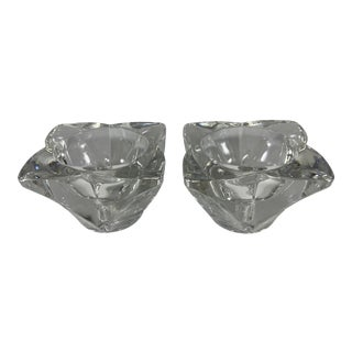 Vintage Heavy Lead Crystal Flower Shaped Candle Holders- a Pair For Sale