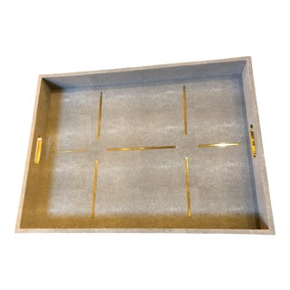 Made Goods Daina in Sand Realistic Faux Shagreen Tray For Sale