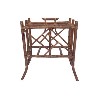 Chippendale-Style Rattan Magazine Rack For Sale