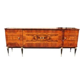 Long French Art Deco Macassar Exotic Sideboard / Credenza / Buffet Circa 1940s