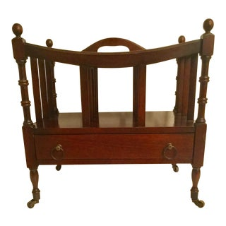 1950s Traditional Mahogany Canterbury Magazine Rack For Sale