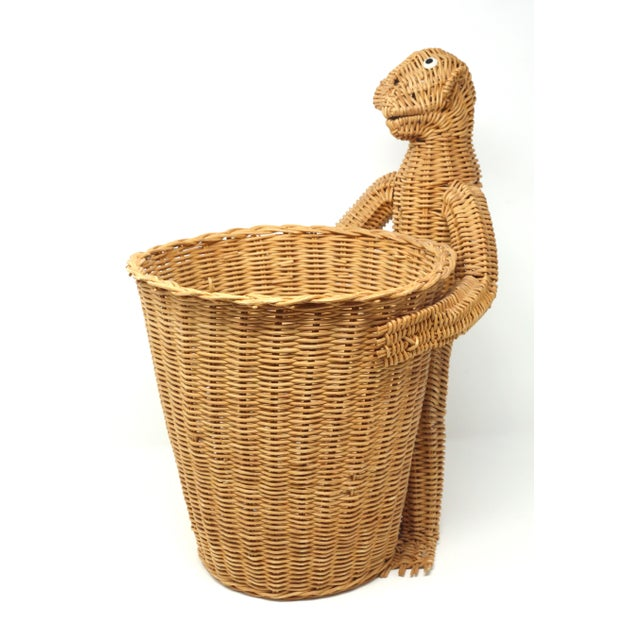 Wicker Mario Lopez Torres Monkey Waste Basket or Trash Can For Sale - Image 7 of 9