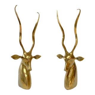 Modernist Sculptural Brass Gazelle Bookends - a Pair For Sale