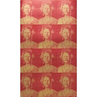 Hunt Slonem for Lee Jofa, Hm Gilt Wallpaper Roll, Red/Gold, 10 Yards For Sale