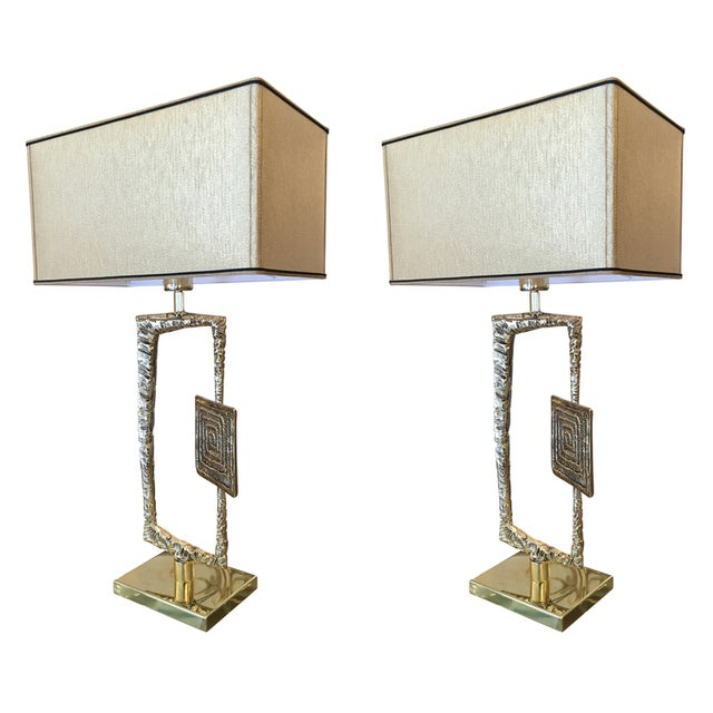 Sculptural cast bronze table lamps designed by Angelo Brotto for Italian lighting company Esperia in the 1960's....