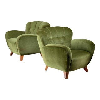 Pair of Swedish Green Easy Chairs, 1940s For Sale