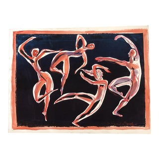 Vintage Original Dancing Nude Figures Painting 1970's For Sale