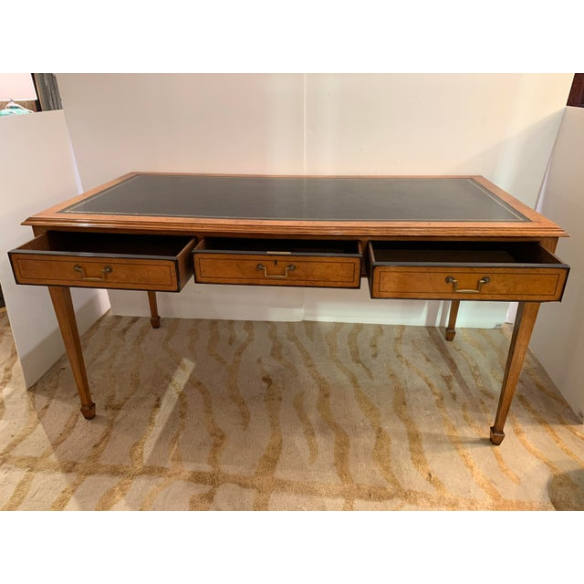 Vintage Mahogany Writing Desk With Black Leather Top For Sale - Image 4 of 13