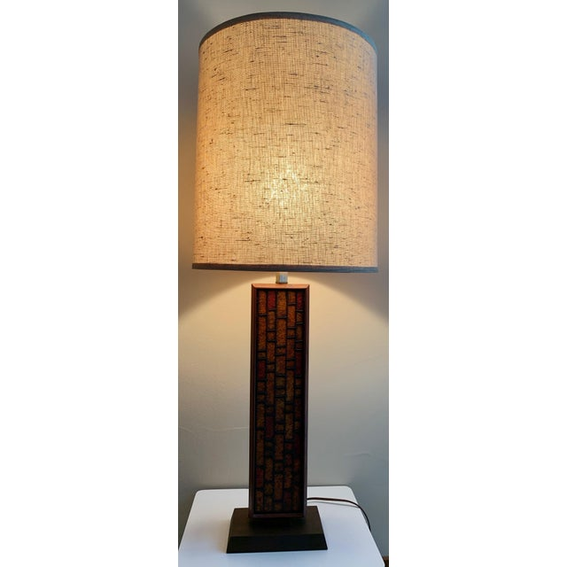 Item: For your consideration we are presenting for sale a nice vintage lamp with its accompanying cloth drum shade. Circa...