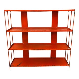 Mid Century Modern Atomic Metal Magazine Rack Bookcase Shelf For Sale