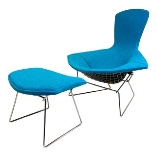 1950s Mid-Century Bird Chair and Ottoman Harry Bertoia for Knoll For Sale
