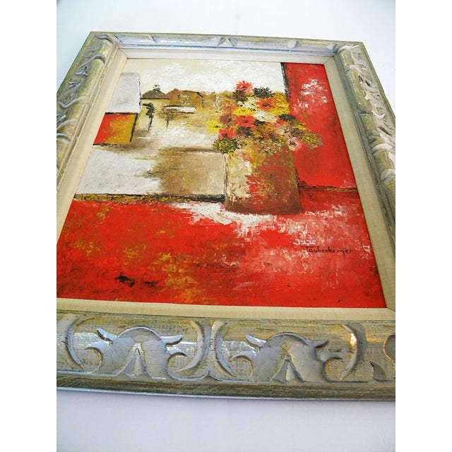 Red Large Mid-Century Still Life Signed Framed Painting For Sale - Image 8 of 10