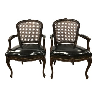 Vintage Black Patent Leather Cane Back Chairs - a Pair
