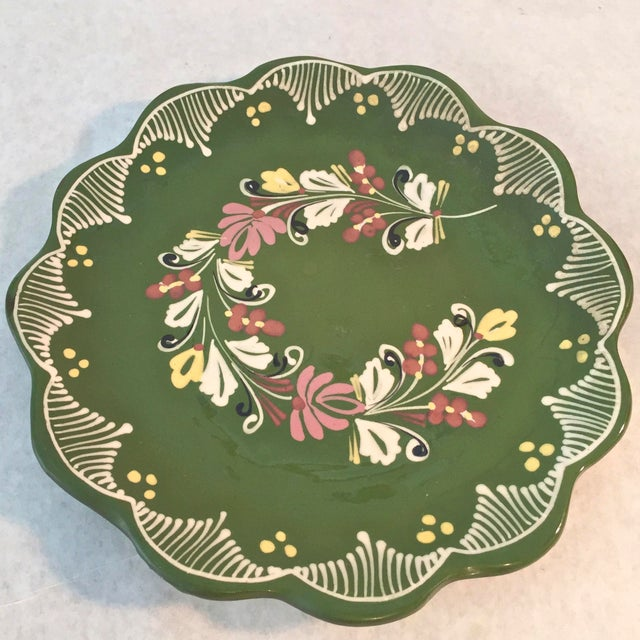 Boho Chic Vintage Hand Painted Decorative Hanging Plate For Sale - Image 3 of 6
