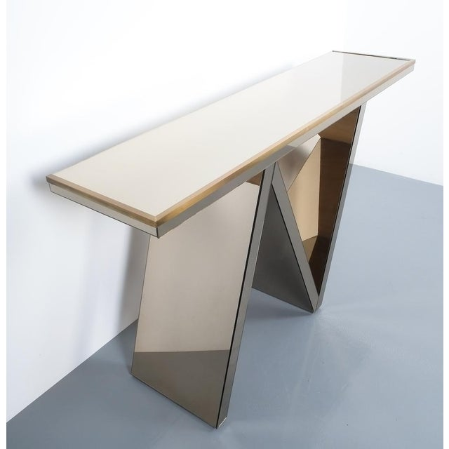 Artisan Zigzag Mirror Brass Console Table Italy, Circa 1970 For Sale - Image 12 of 13