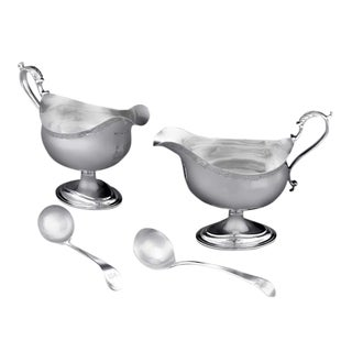 Hester Bateman Silver Sauceboats and Spoons