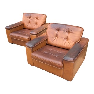 20th Century French Leather Club Chairs - a Pair