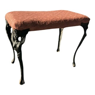 Early 20th Century Victorian Art Nouveau Vanity Bench For Sale