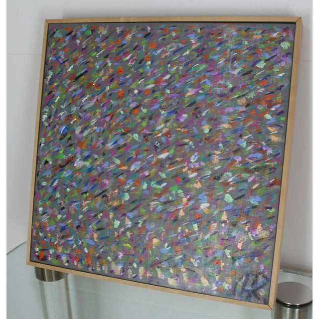 """Square abstract painting by Herman Kahan. Signed and dated. Dimensions: 23 x 23""""."""