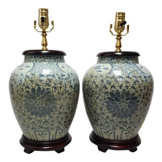 Celadon & Blue Chinese Export Lamps - A Pair