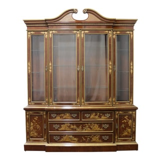 Vintage Mahogany Chinoiserie Chippendale Breakfront China Cabinet by Fancher For Sale