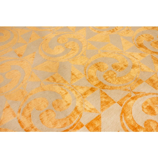 "2010s Contemporary Hand Knotted Golden ""Kaleidoscope"" Rug For Sale - Image 5 of 11"