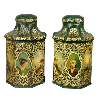 Victorian Tole Tea Canisters - a Pair For Sale